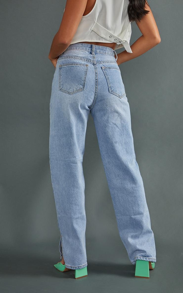 Petite Mid Blue Wash Ripped Split Hem Straight Leg Jeans 3