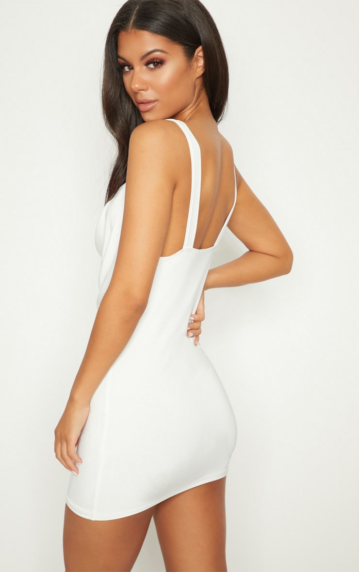 White Lion Buckle Cowl Neck Slinky Bodycon Dress 2