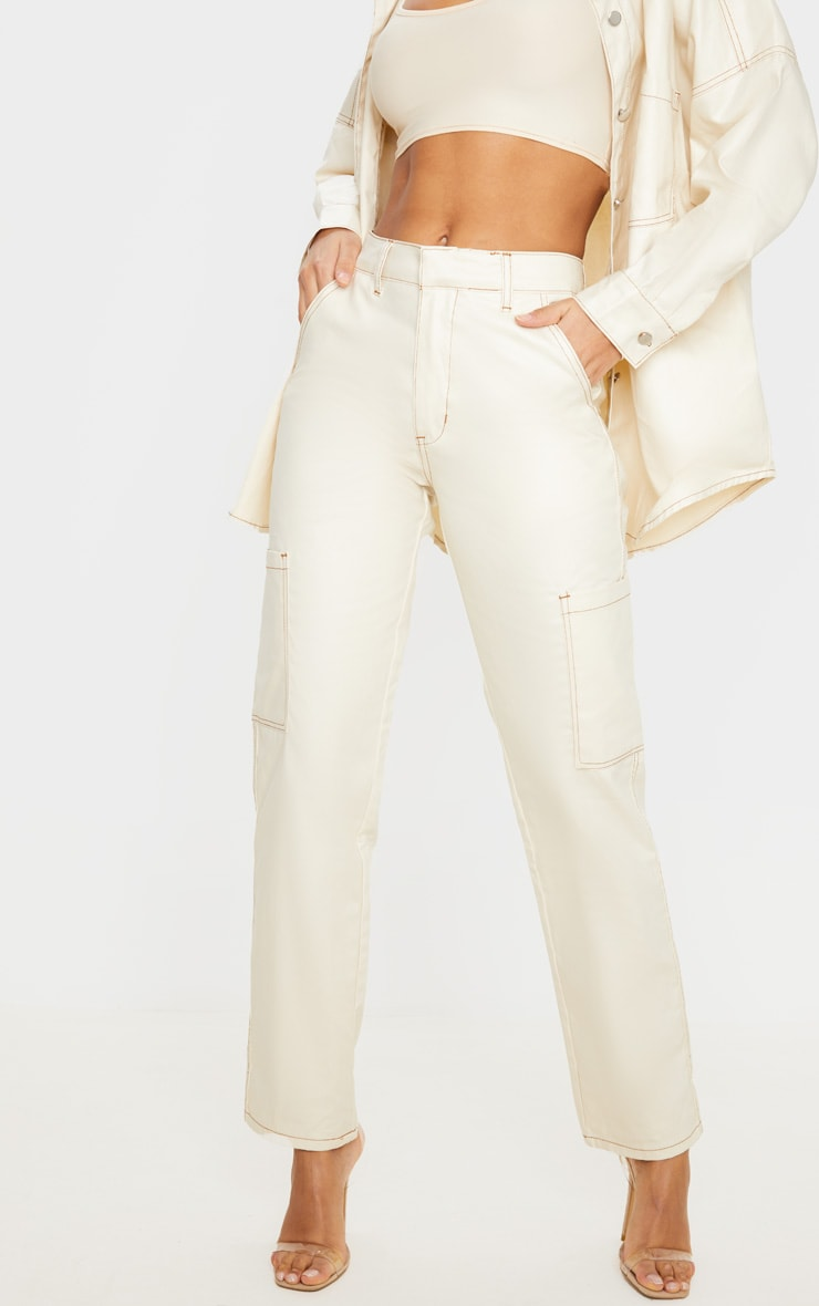 Stone PU Contrast Stitch Pocket Detail Jeans 2