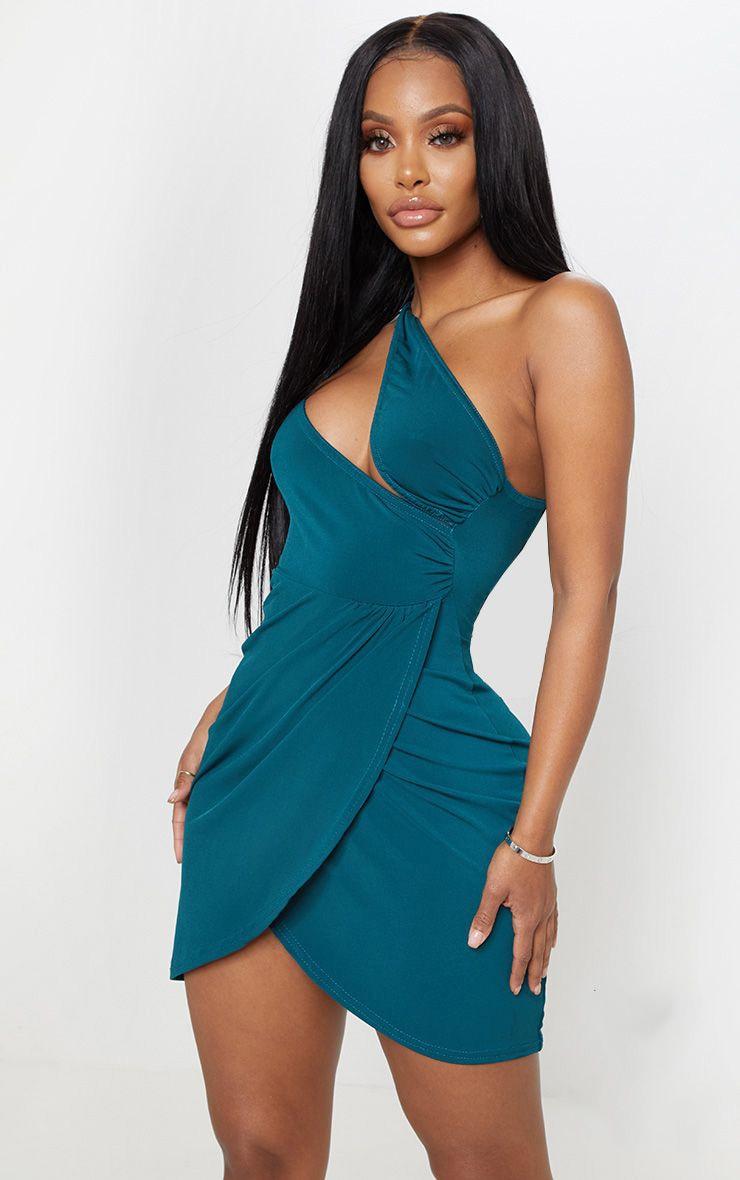 Shape Emerald Green Slinky Cut Out One Shoulder Bodycon Dress 1