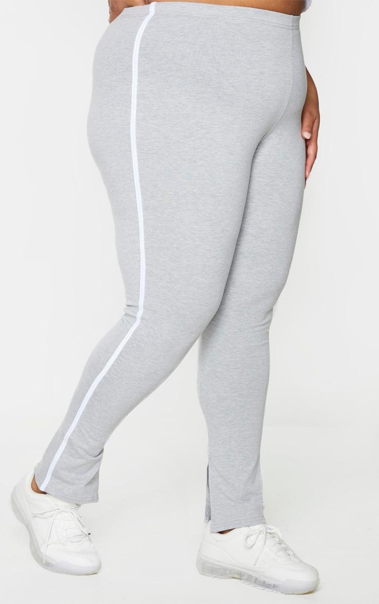 Plus Grey Side Stripe Split Hem Pants 3