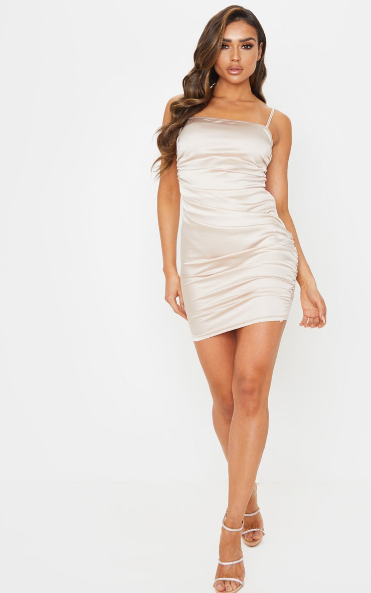 Nude Ruched Strappy Satin Bodycon Dress 4