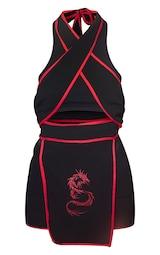 Black Halterneck Red Binding Ninja Romper 5