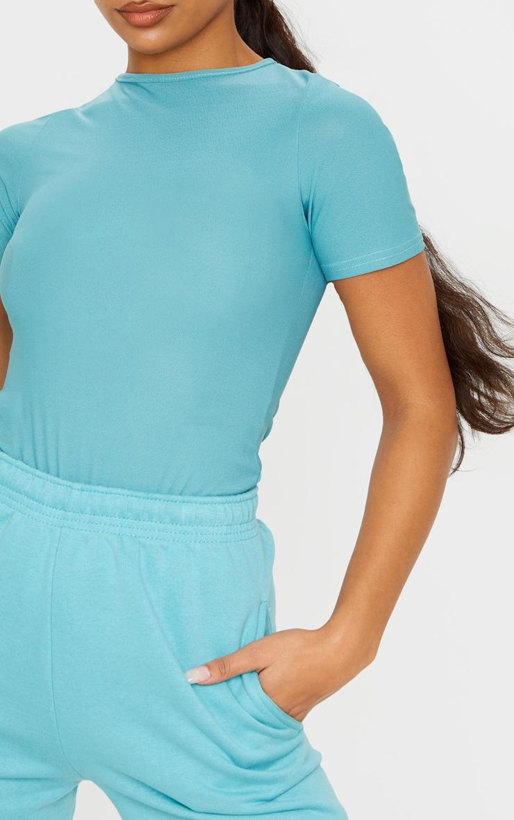 Dusty Turquoise Crepe Short Sleeve Thong Bodysuit 6