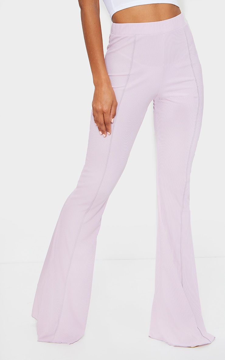 Lilac Contrast Seam Ribbed Flare Pants 2