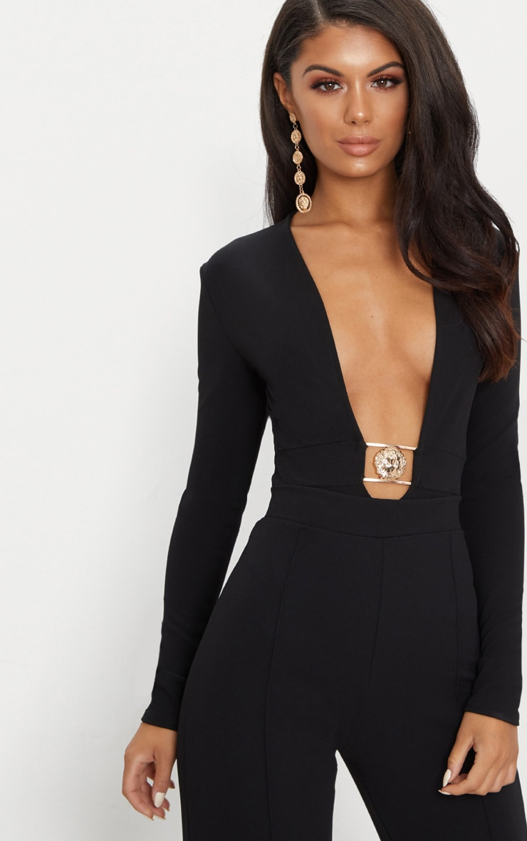 Black Lion Clasp Plunge Long Sleeve Bodysuit 1