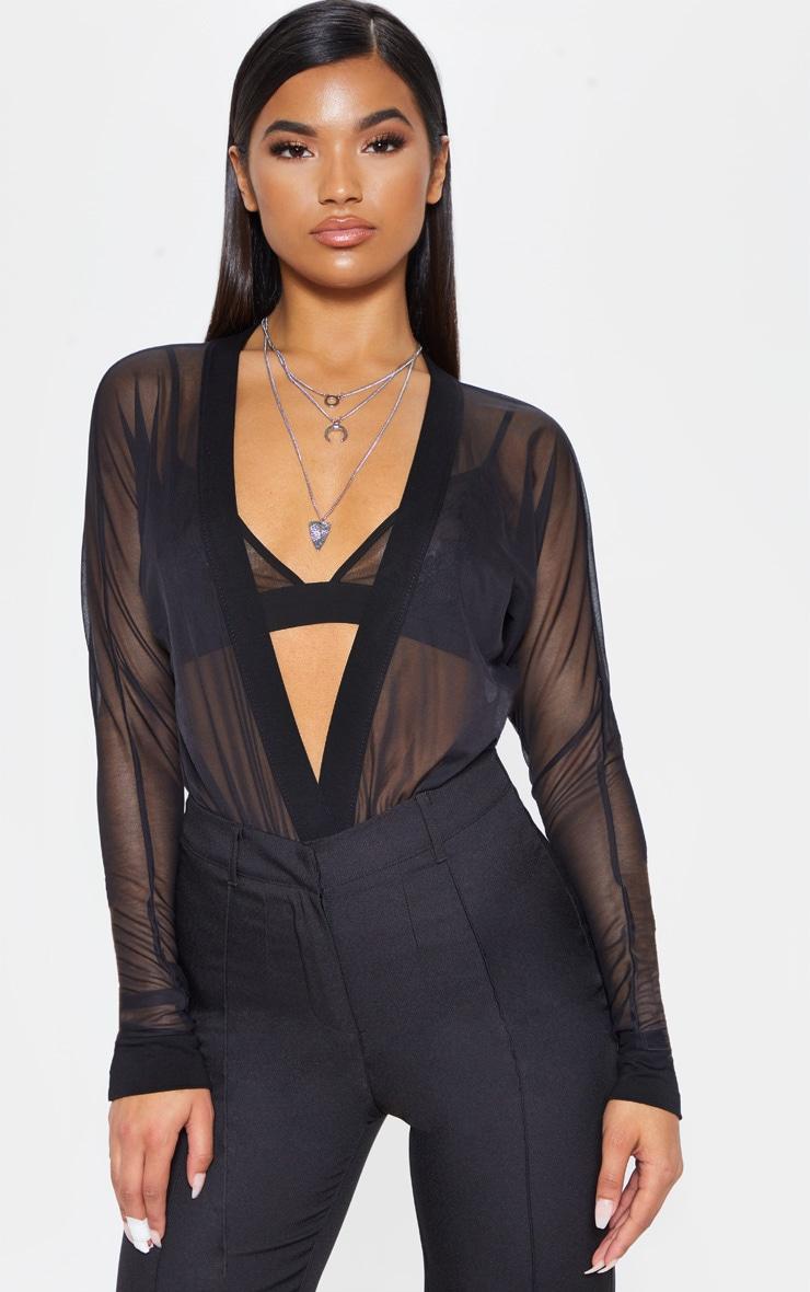 Yulia Black Mesh Plunge Jersey Thong Bodysuit 1