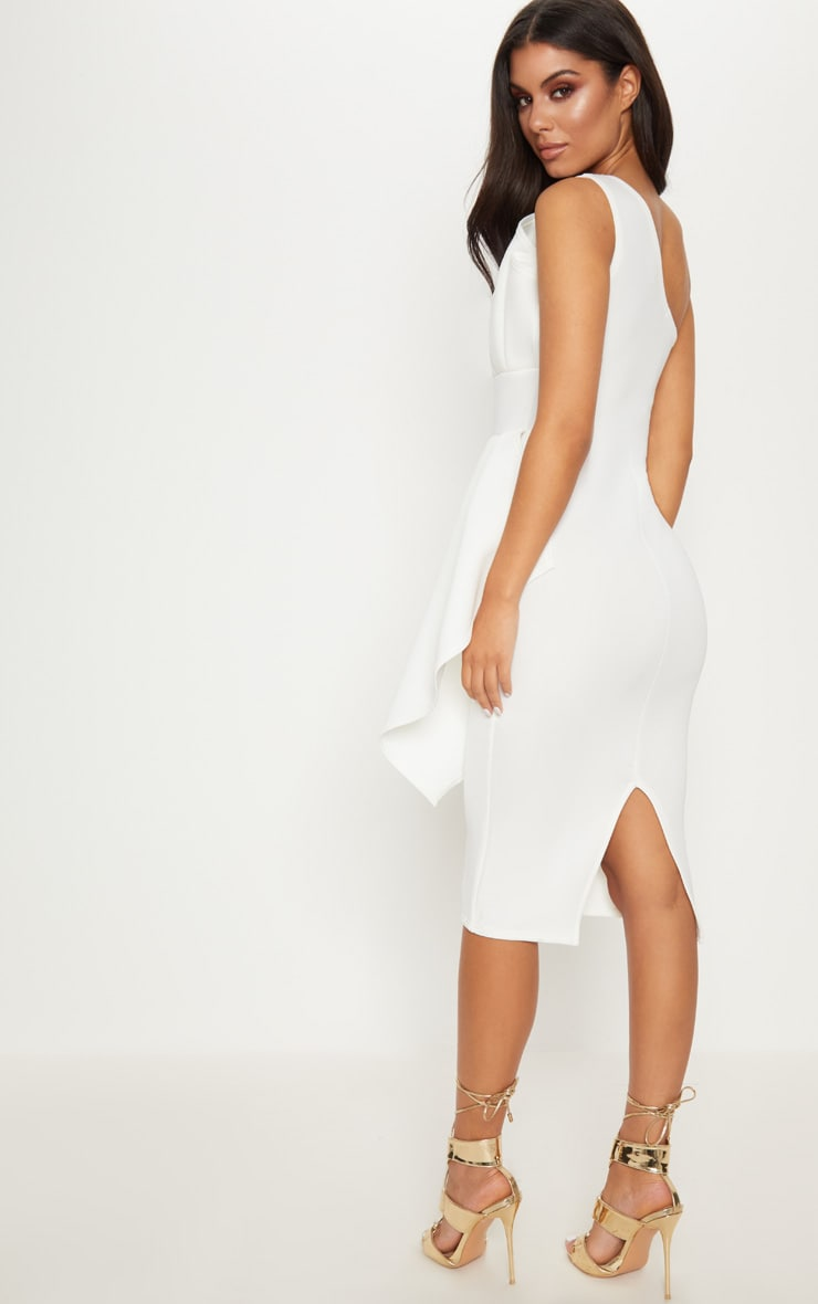 White One Shoulder Pleated Detail Midi Dress 2
