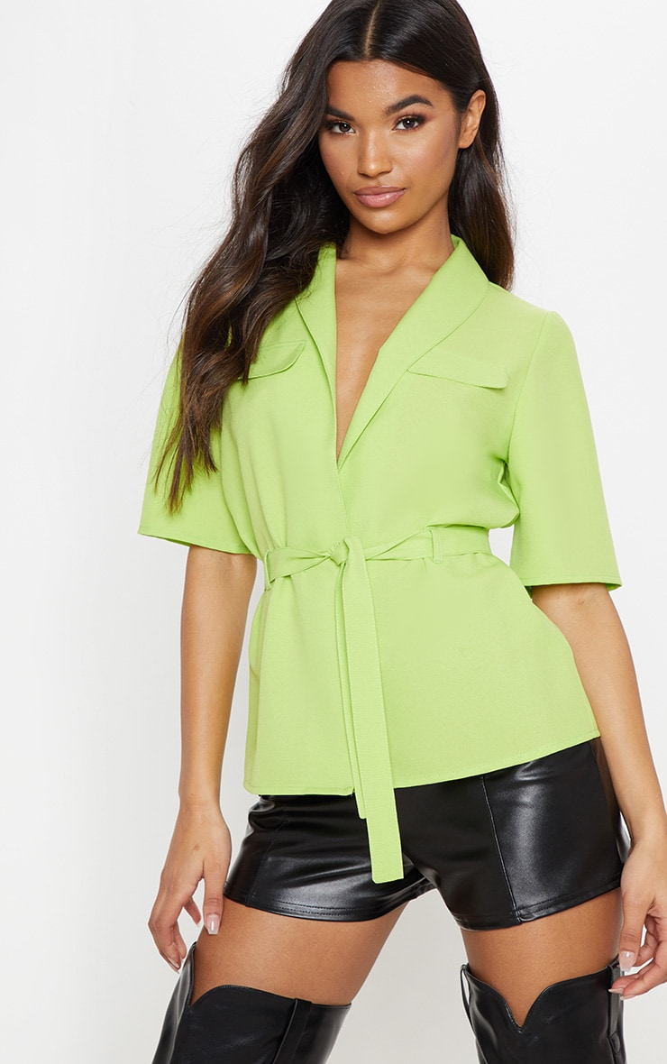 Neon Lime Short Sleeve Utility Shirt 1