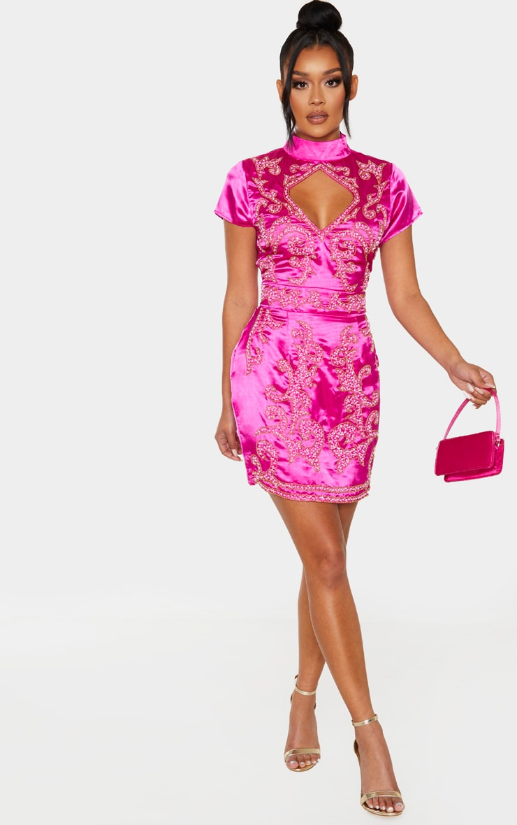 Hot Pink Satin Embellished Cut Out Short Sleeve Bodycon Dress 4