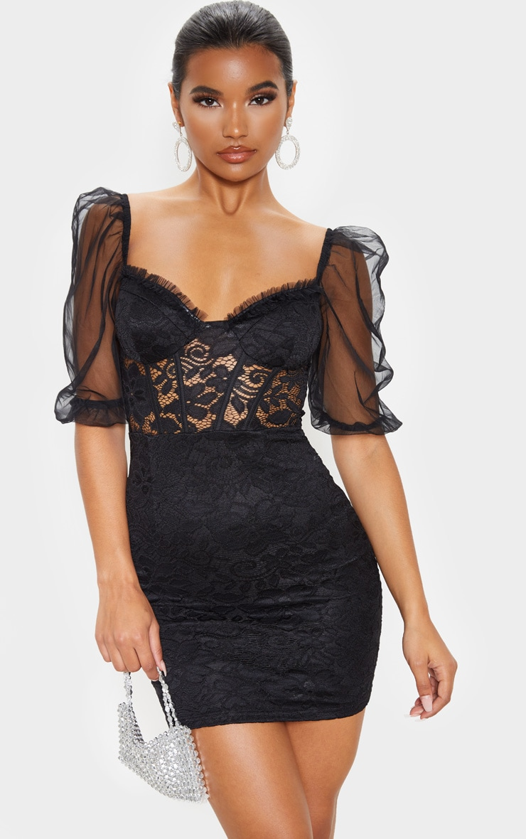 Black Chiffon Puff Sleeve Lace Bodycon Dress