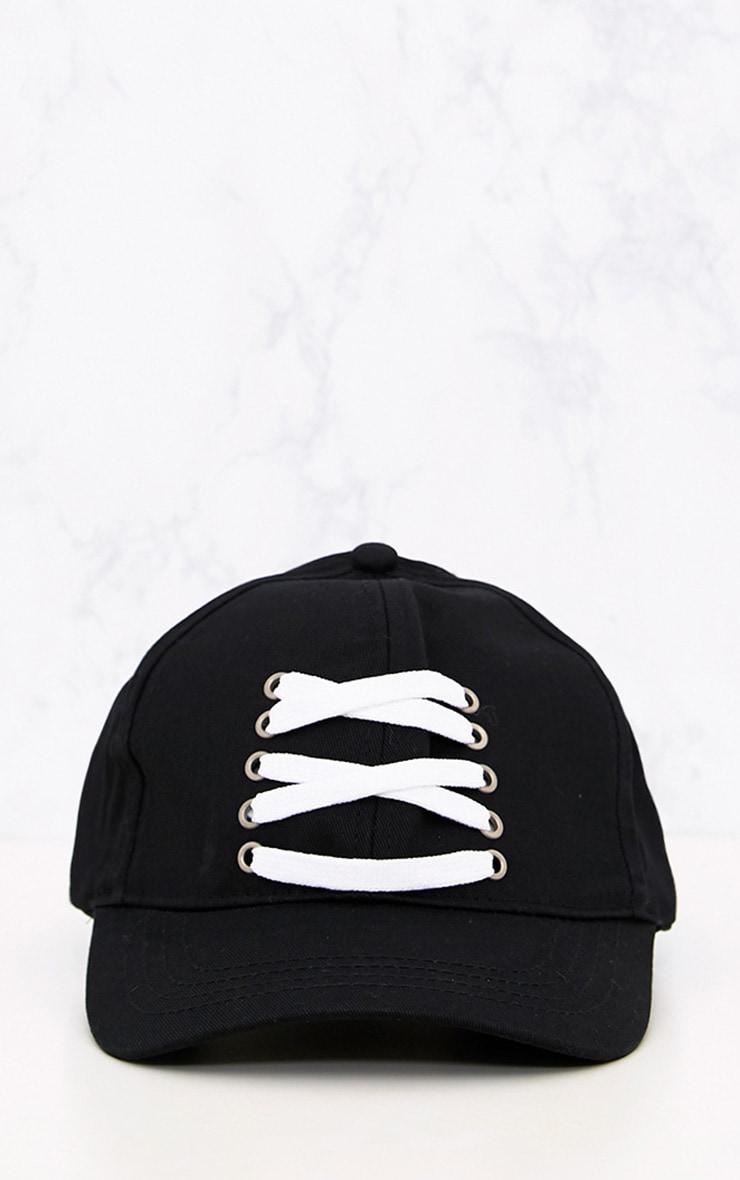 Black Front Laced Cap 3