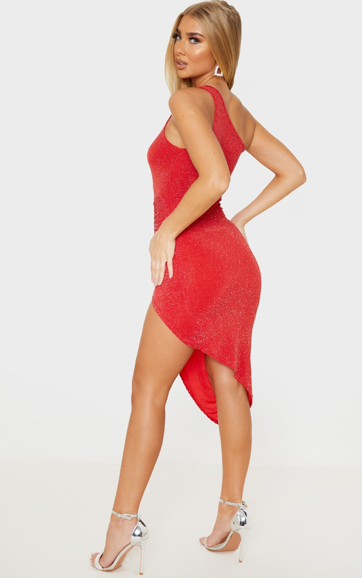 Red Textured Glitter One Shoulder Ruched Midi Dress 2
