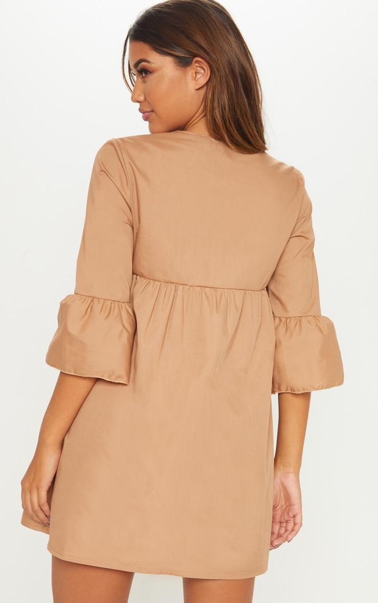 Camel 3/4 Sleeve Smock Dress 2