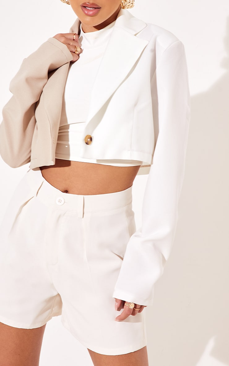 Cream Woven Contrast Cropped Blazer 4