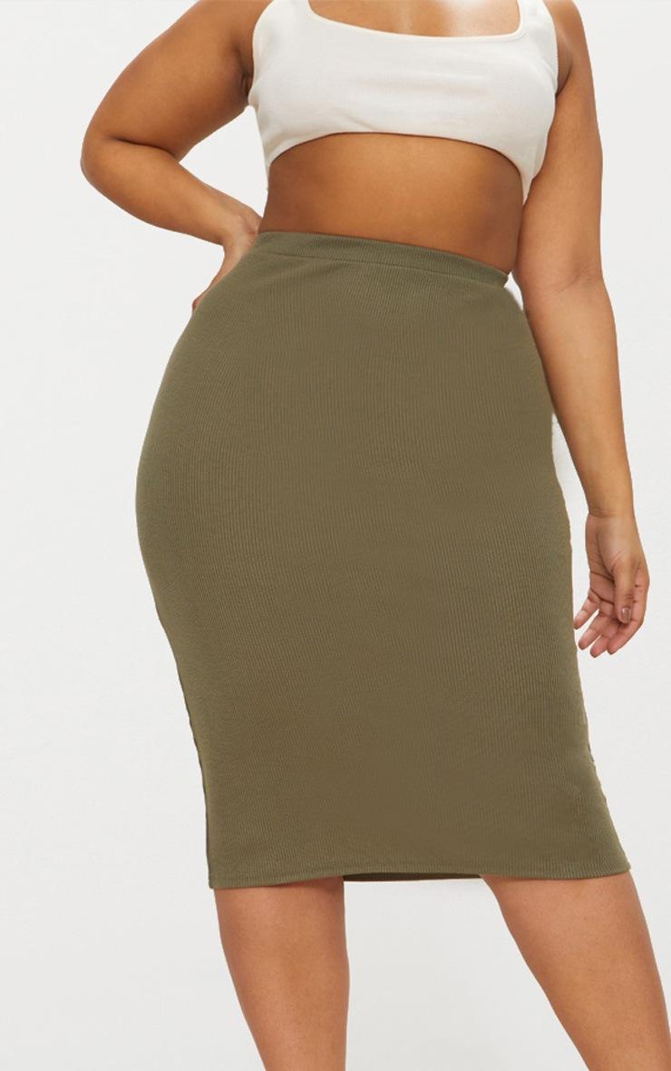 Plus Khaki Ribbed Zip Detail Midi Skirt 2