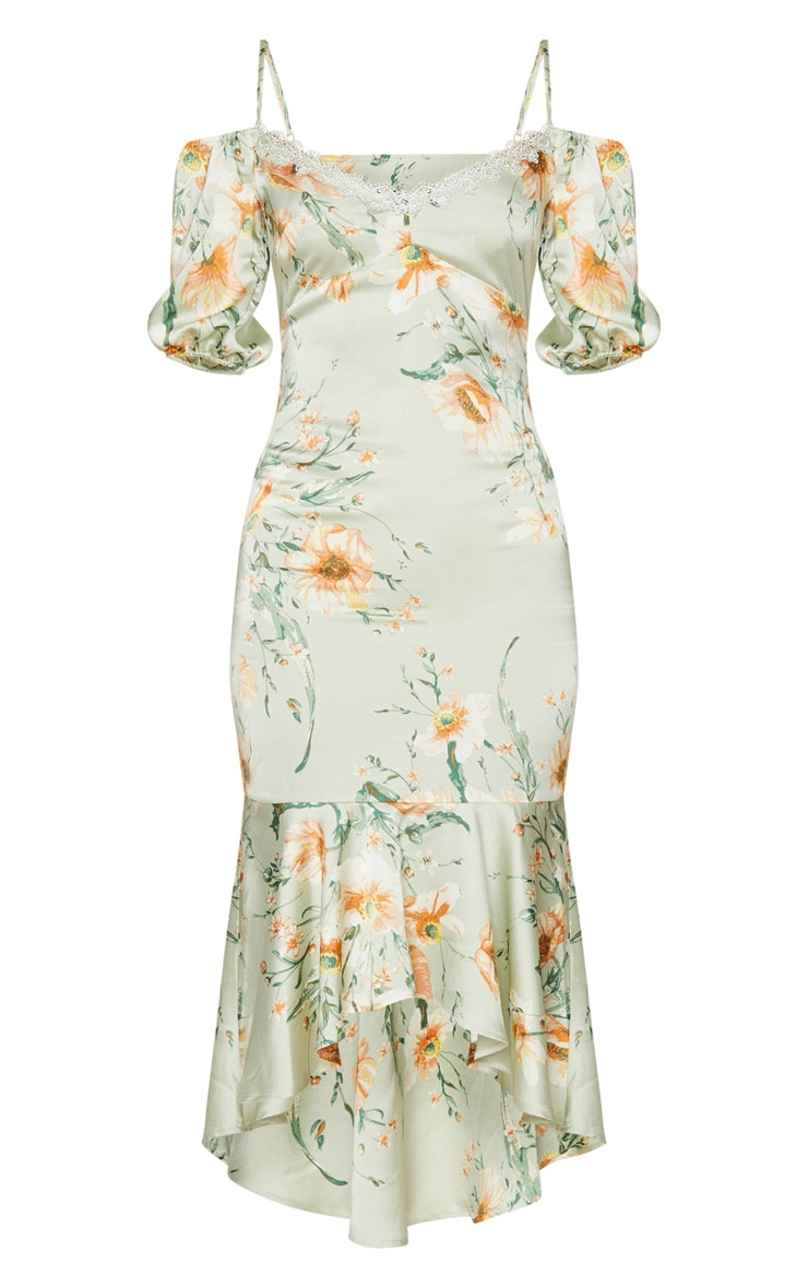 Mint Lace Trim Frill Hem Midi Dress 5