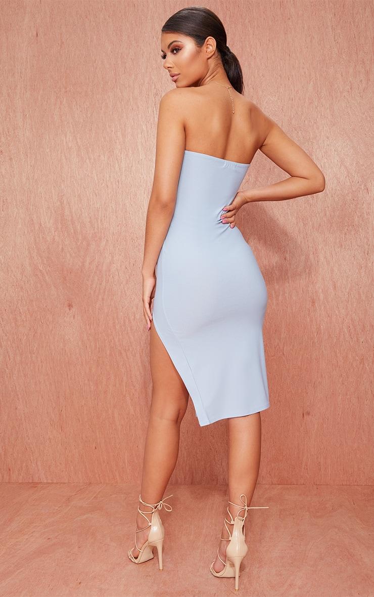 Dusty Blue Crepe Bandeau Split Front Midi Dress 2
