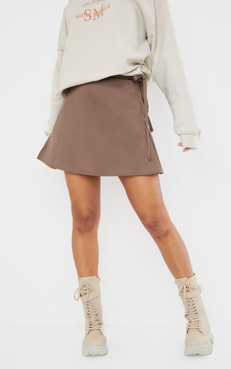 Chocolate Wrap Scuba Mini Skirt 2