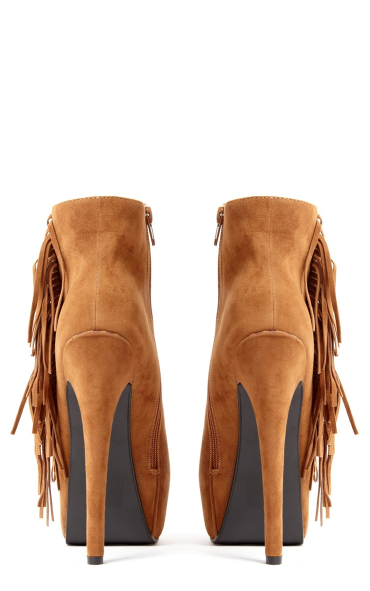 Ally Tan Fringe HIgh Heel Ankle Boots 3