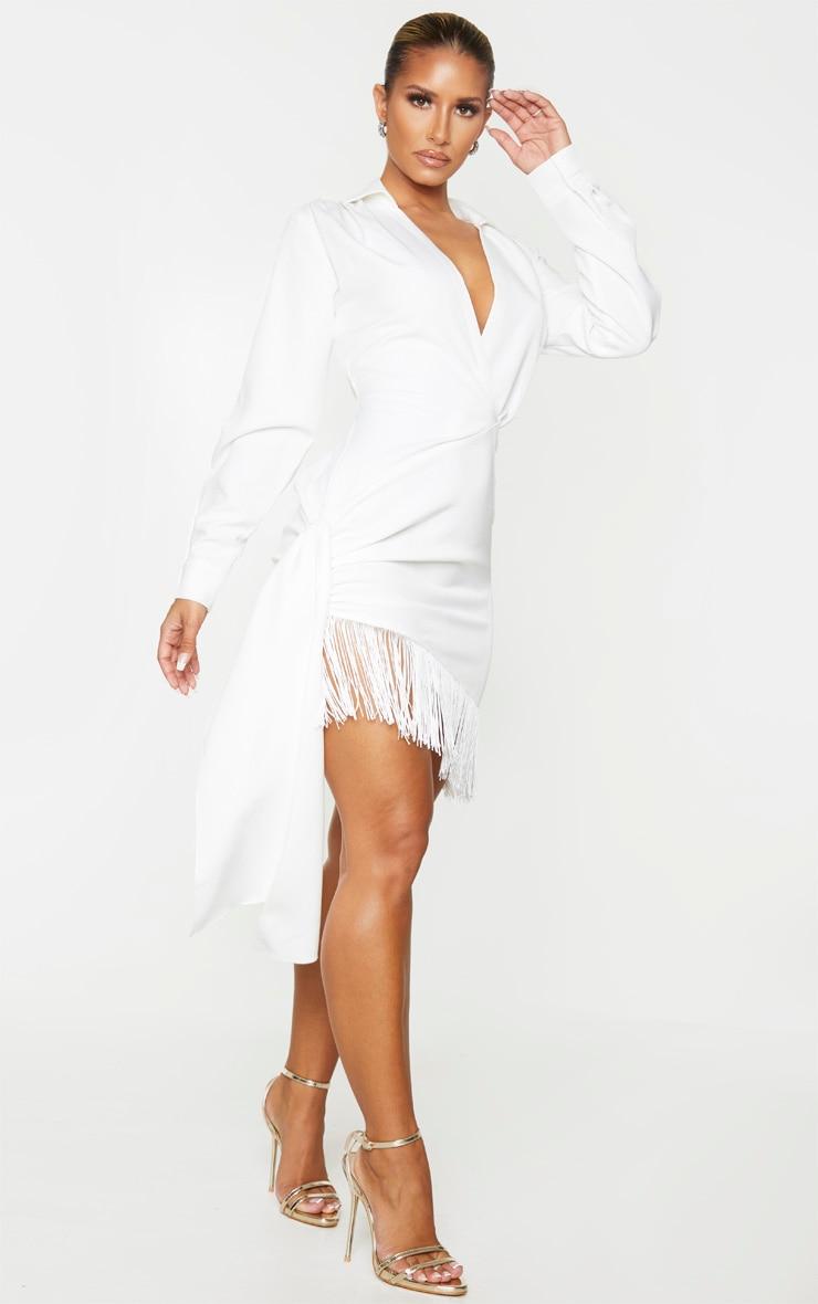 White Long Sleeve Tassel Hem Drape Detail Bodycon Dress 3