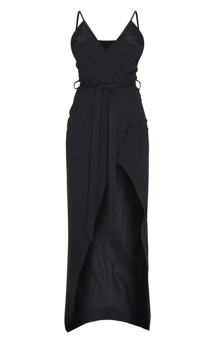 Black Ribbed Wrap Maxi Dress 5