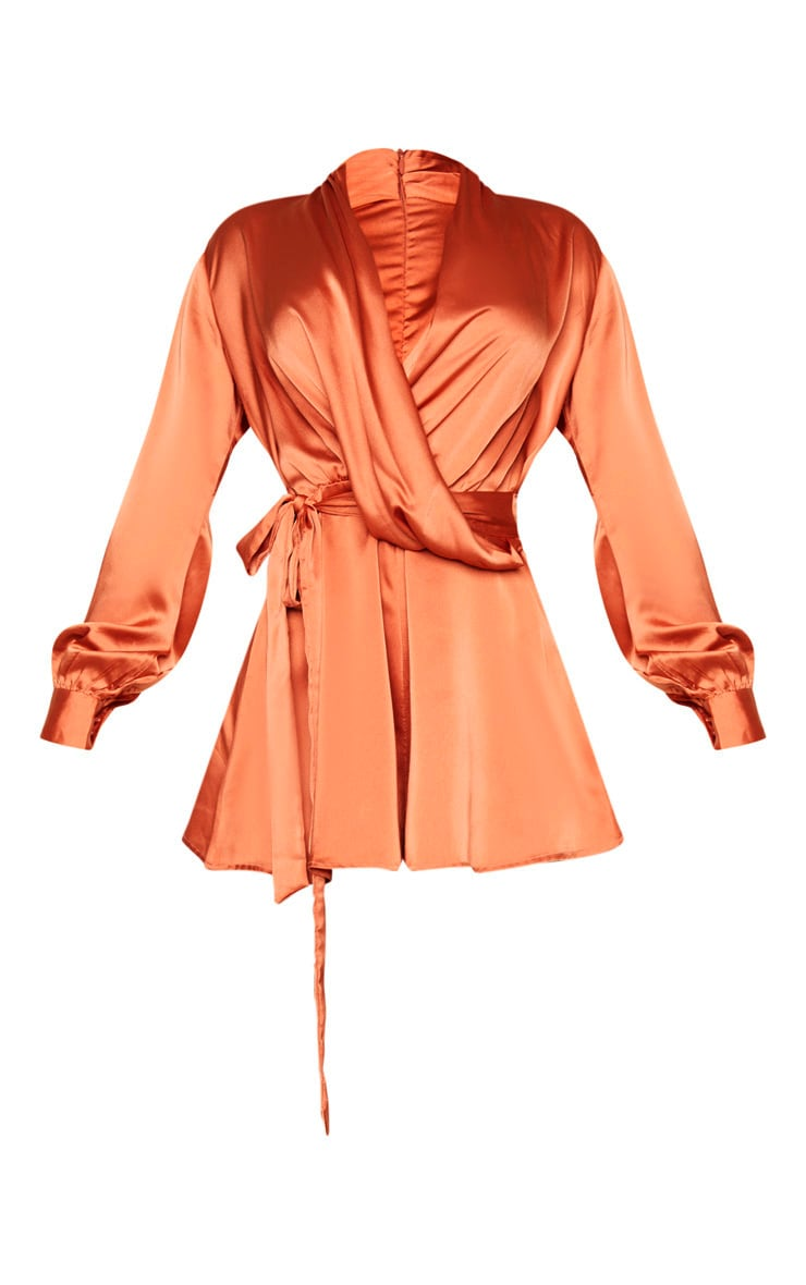 Rust Satin Drape Detail Long Sleeve Romper 3