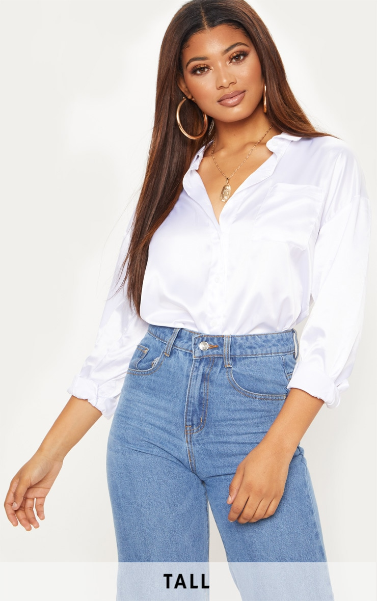 Tall White Pocket Detail Satin Shirt 1