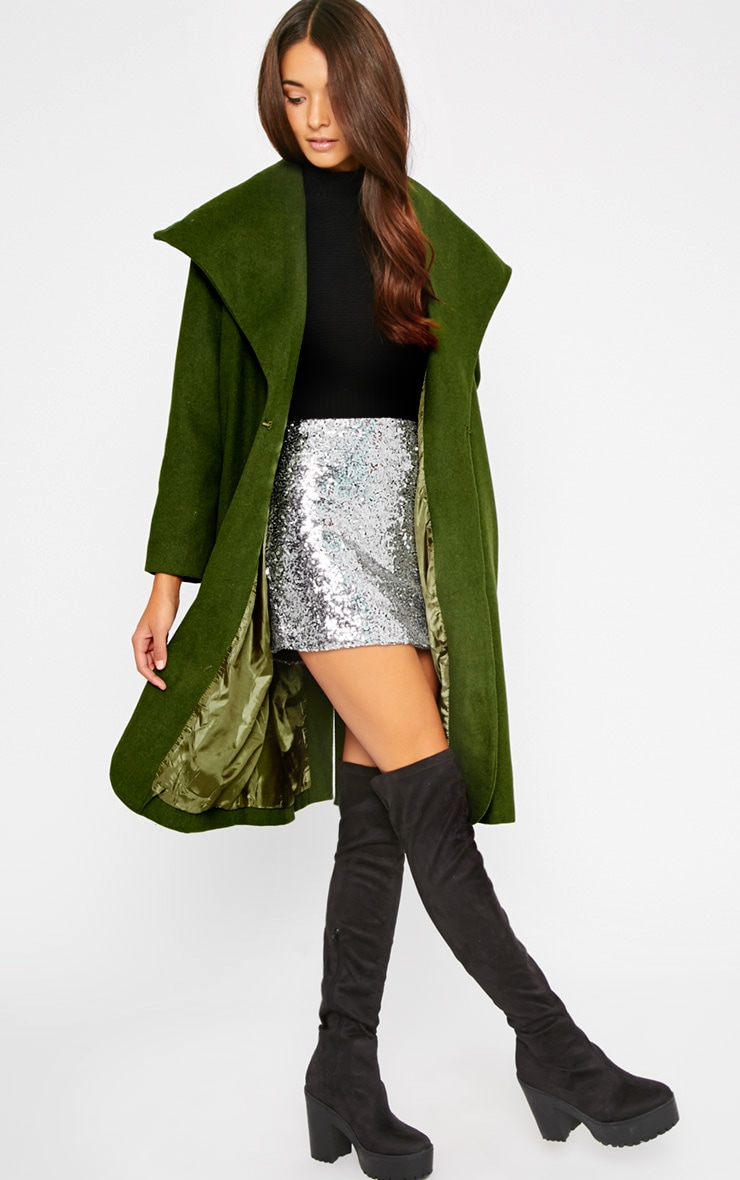 Gaia Green Brushed Wool Premium Waterfall Coat 3
