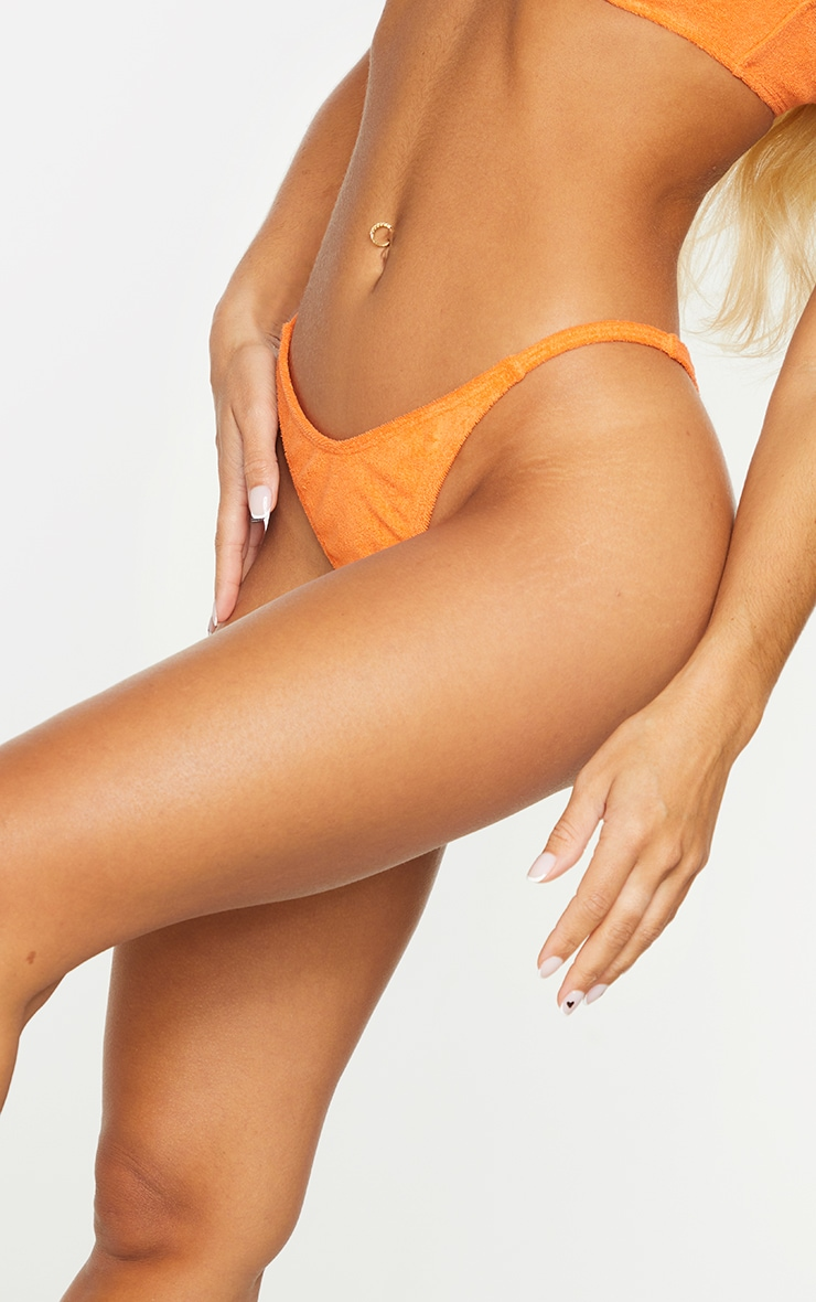 Orange Towel Mini Thong Bikini Bottoms 4