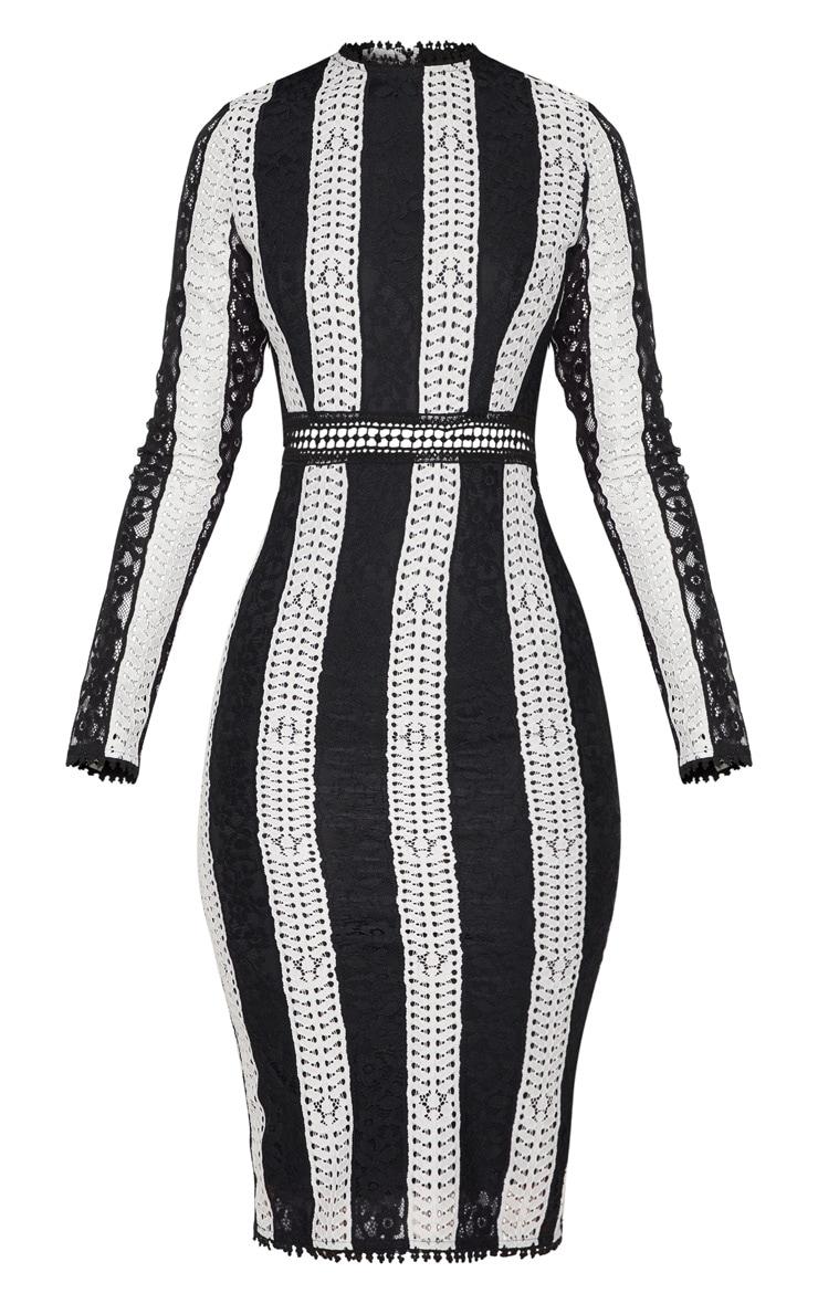 Monochrome Crochet Lace Midi Dress 3