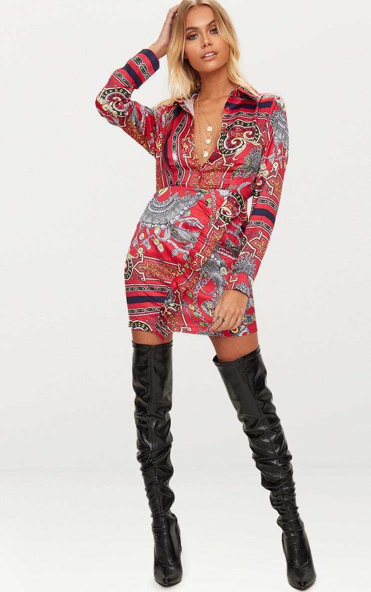 Robe chemise à volants imprimé mosaïque rouge 1