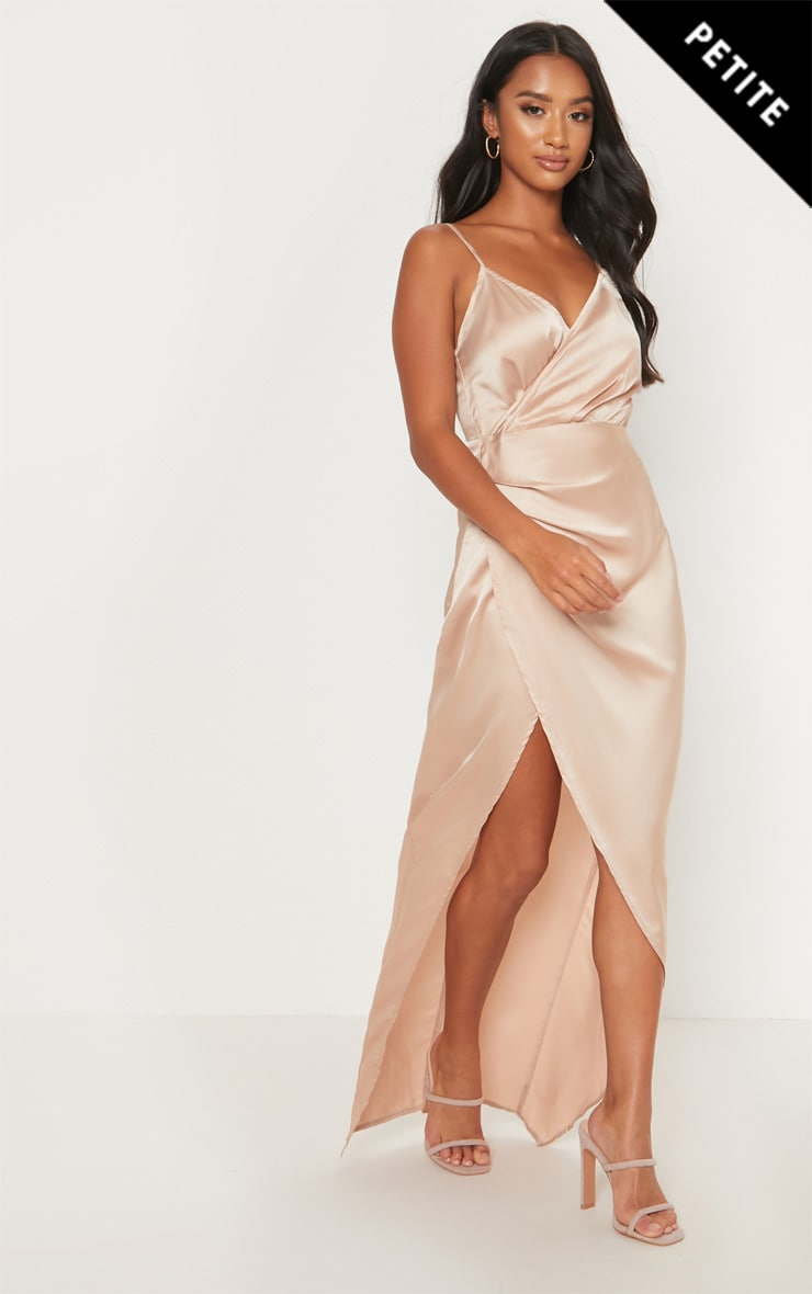 Petite Champagne Satin Wrap Detail Maxi Dress