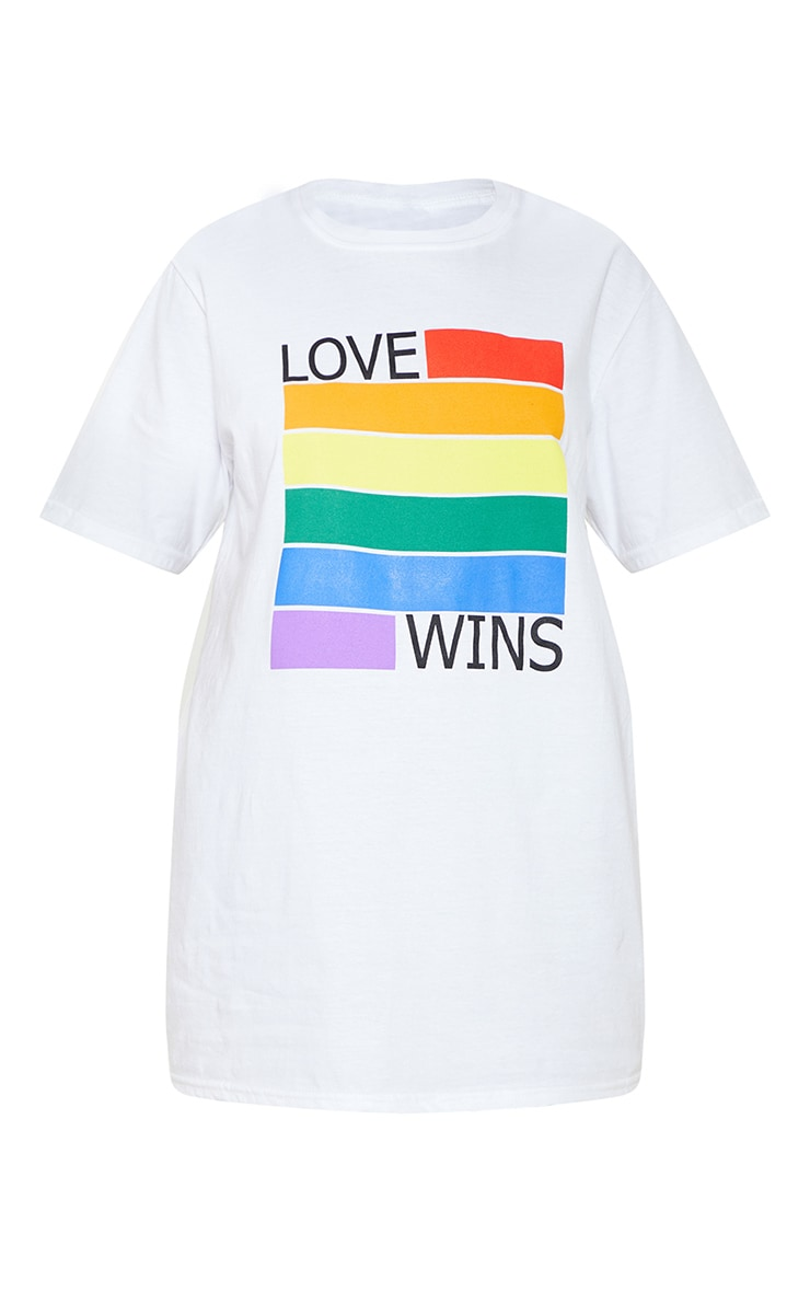 UNISEX White LOVE WINS Oversized T-shirt 4