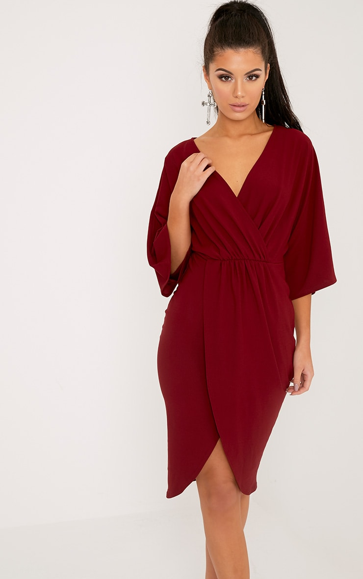 Archer robe midi cape bordeaux 1