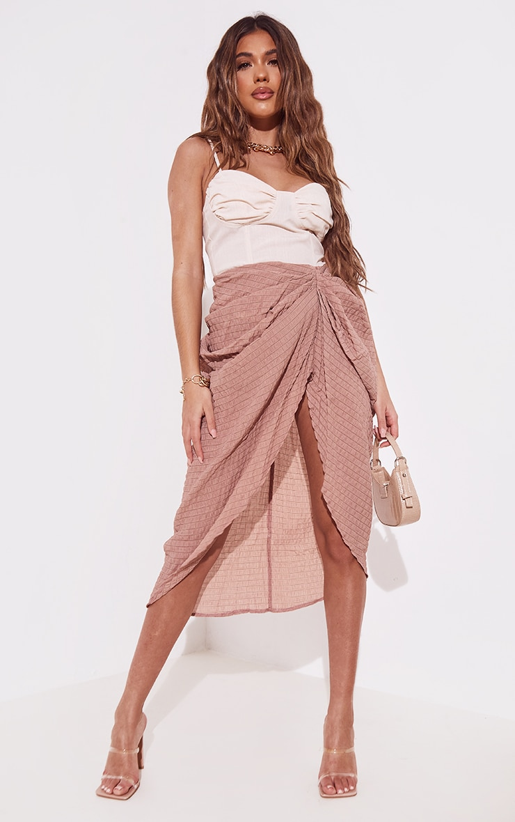 Taupe Textured Crepe Ruched Side Midi Skirt 4
