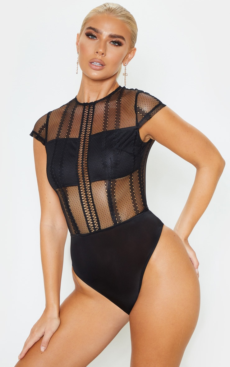 Black Embroidered Lace Bodysuit  2