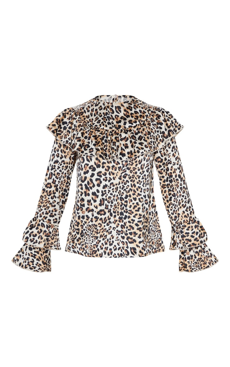 Petite Brown Leopard Frill Detail Long Sleeve Blouse 3