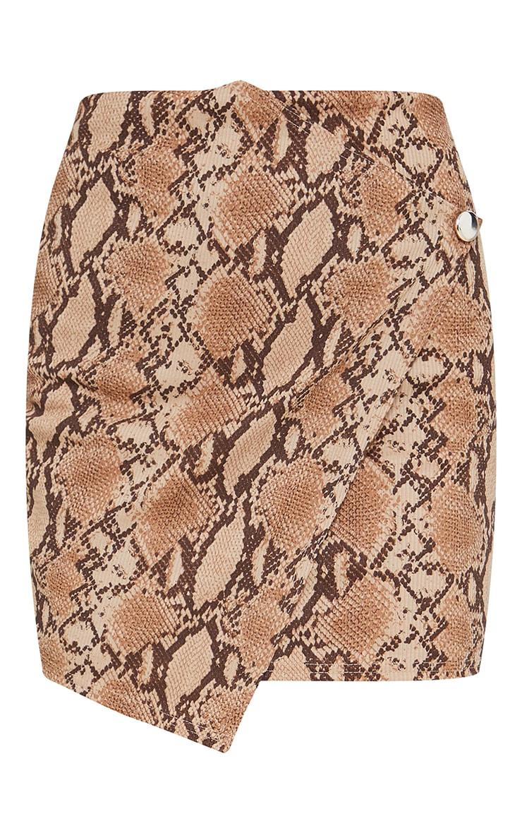 Brown Snake Print Wrap Mini Skirt 6