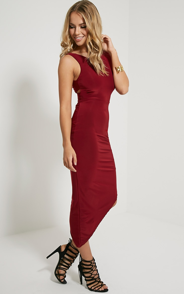 Carmen Burgundy Cross Back Ruched Side Midi Dress 3