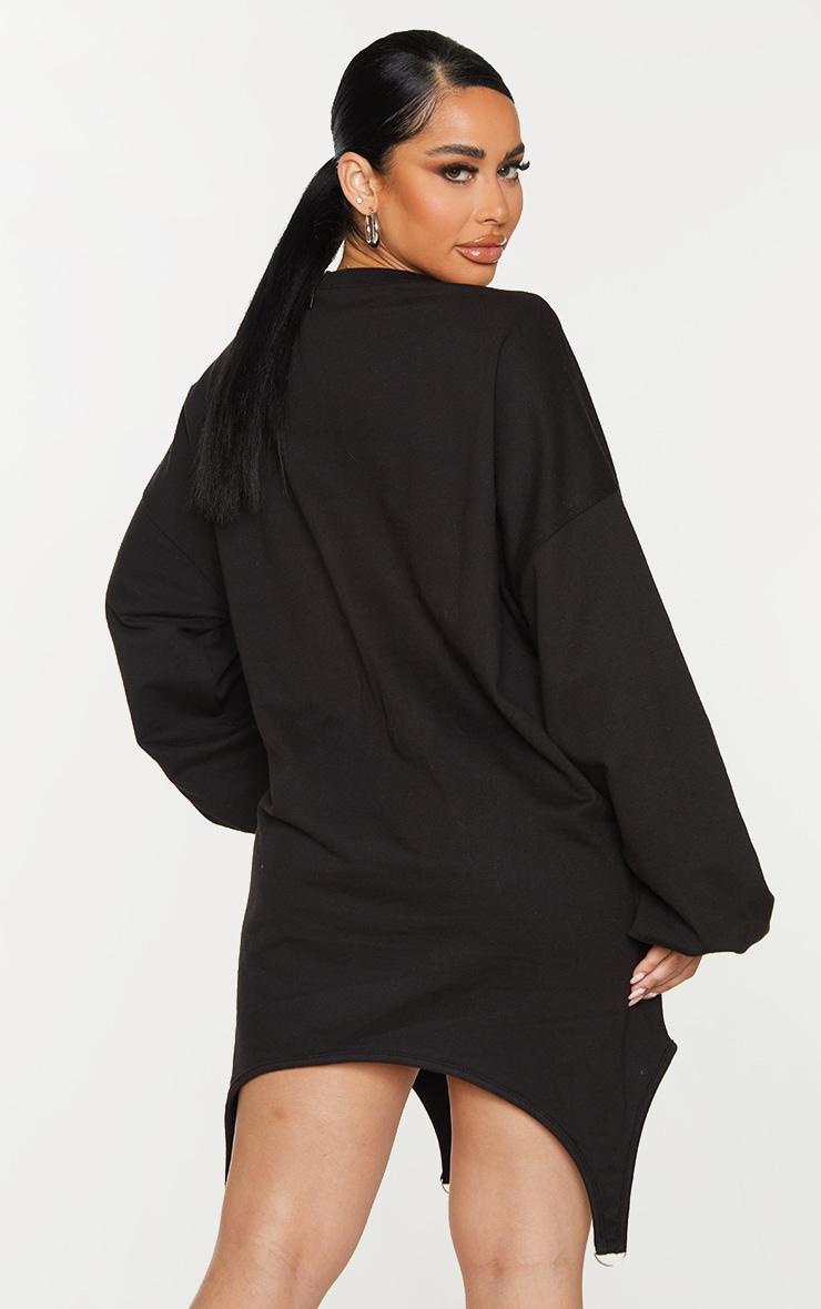 Shape Black Michigan Slogan Corset Detail Sweater Dress 2