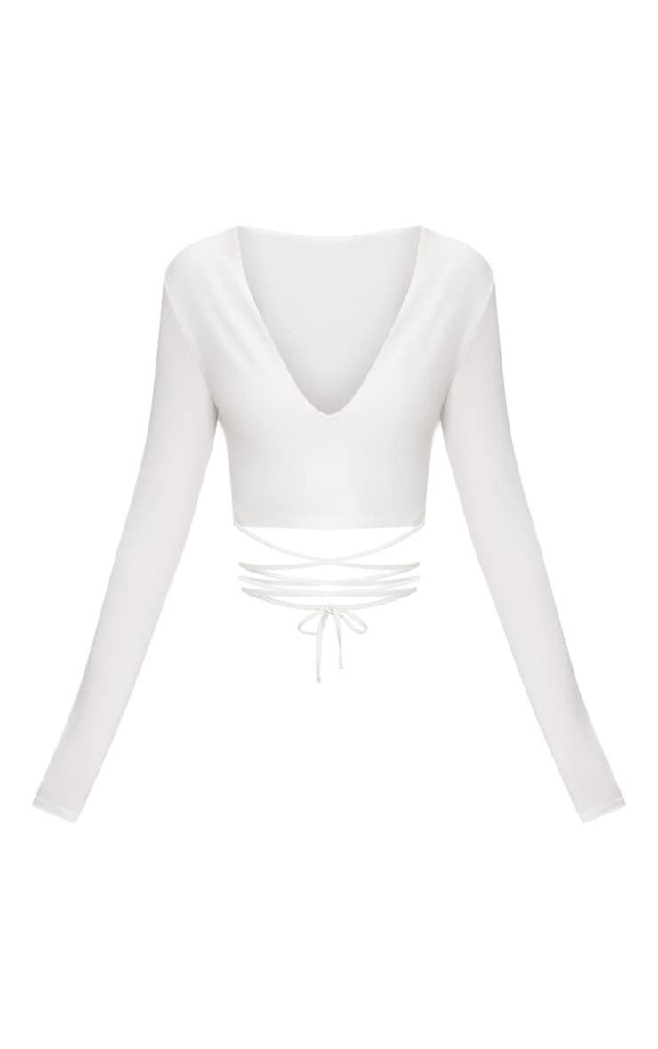 White  Slinky Long Sleeve Tie Waist Crop Top  3