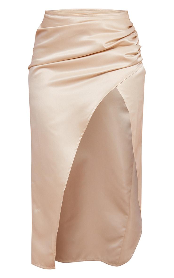 Cream Woven Structured Satin Ruched Split Side Leg Midi Skirt 5