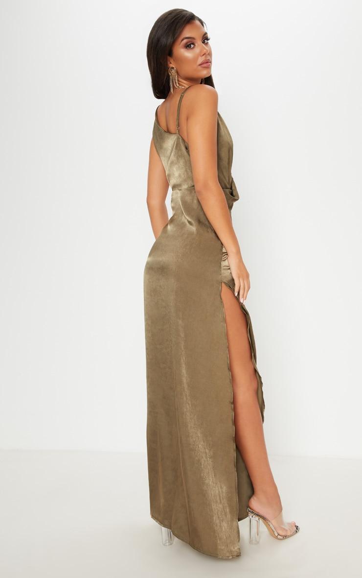 Khaki Satin Asymmetric Ring Detail Maxi Dress 2