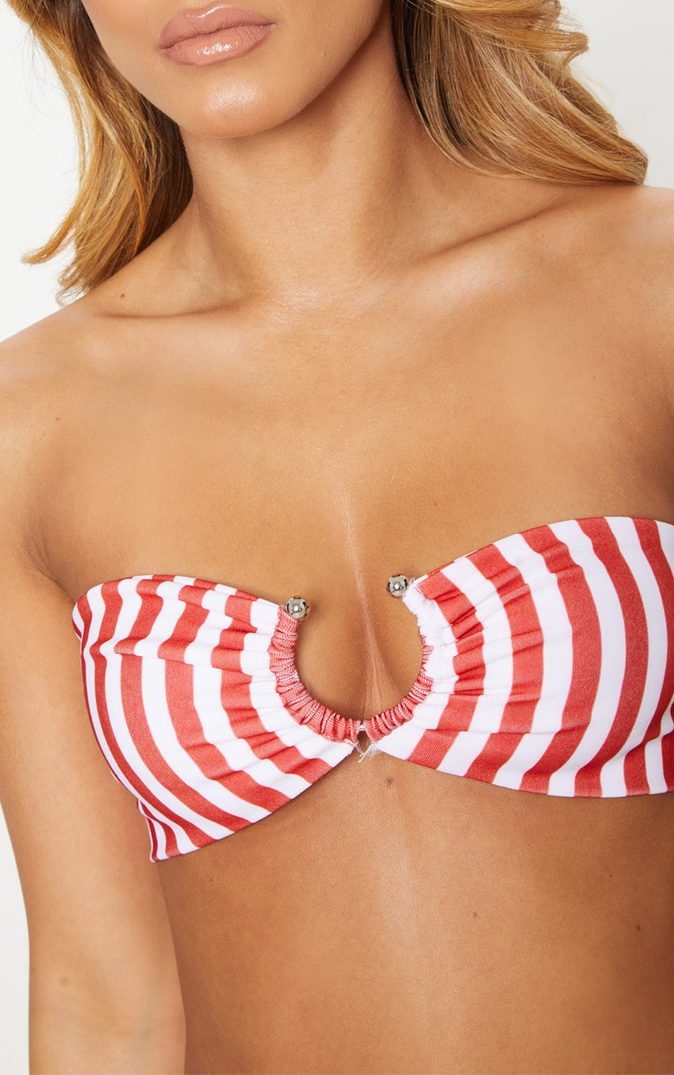 Petite Red Striped Ring Detail Bikini Top 5