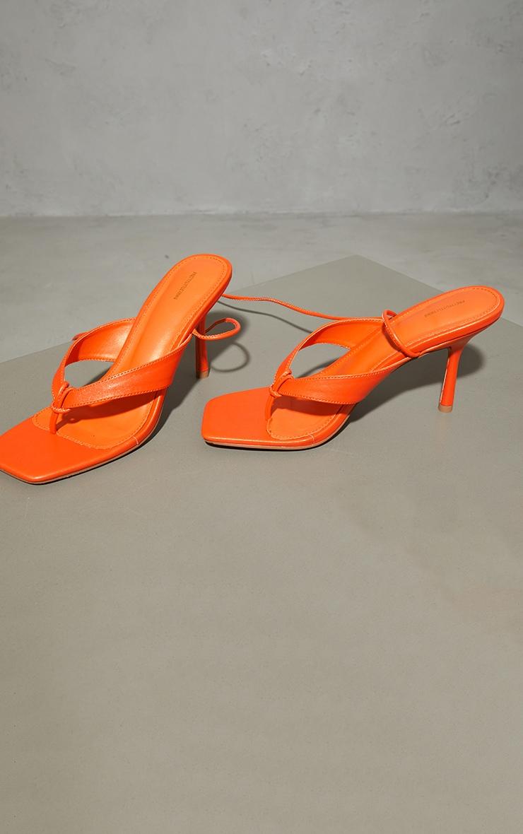 Orange PU Toe Thong Lace Up Mid Heeled Sandals 3