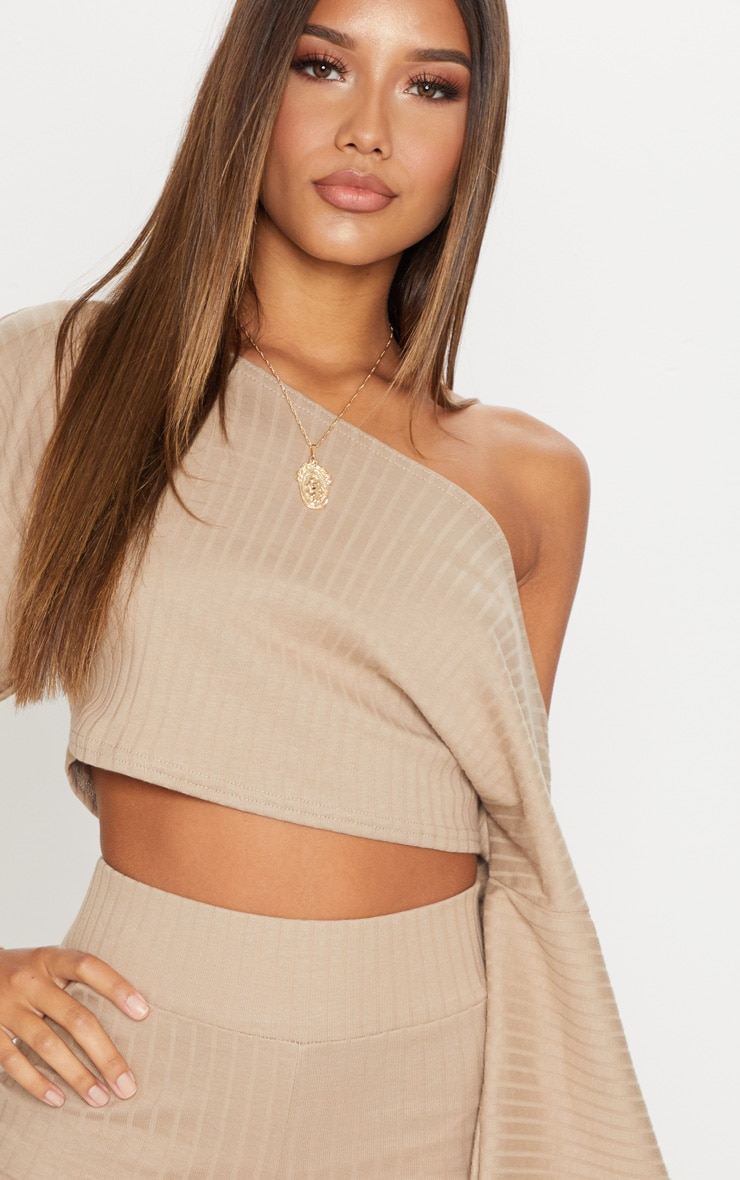 d84ea1ec0aa Taupe Rib Off The Shoulder Crop Top | Tops | PrettyLittleThing