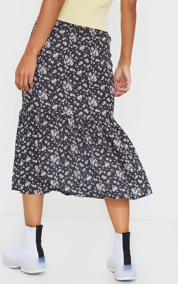 Black Floral Printed Frill Hem Midi Skirt 3