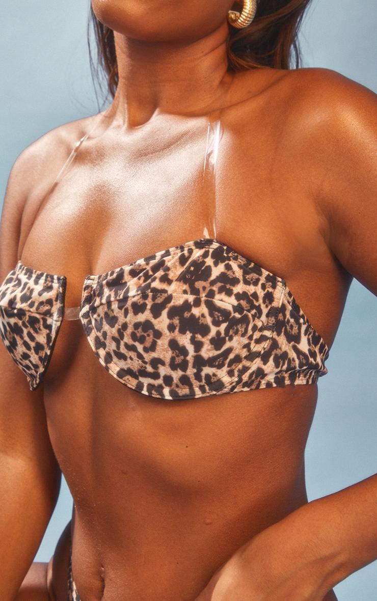Leopard Clear Strap Underwired Bikini Top 4