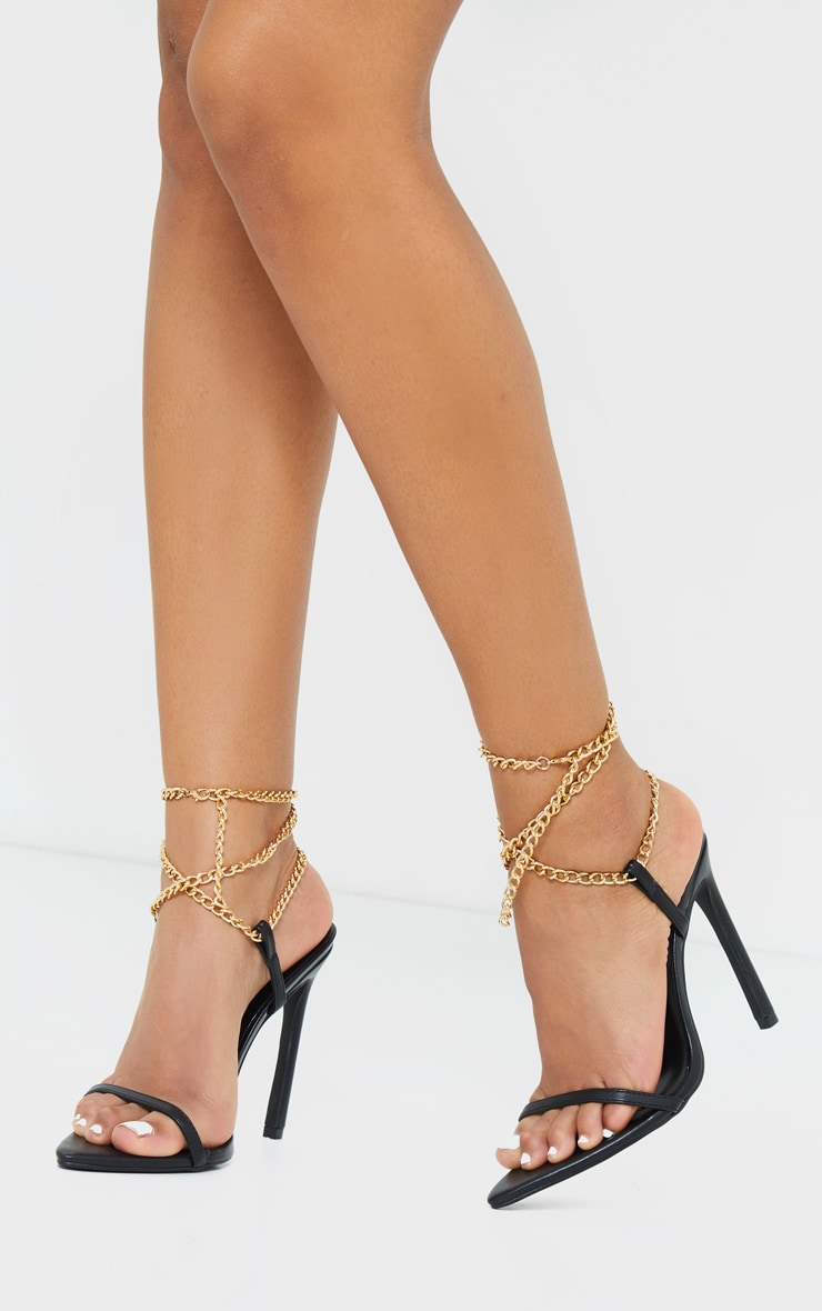 Black PU Pointed Strappy Chain High Heels 2